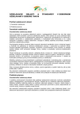 Vzdelávacie oblasti a štandardy v odbornom vzdelávaní odboru
