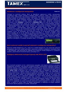 Všeobecne o analógových tachografoch Ktoré