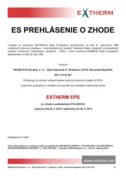 ES prehlásenie o zhode - EXTHERM EPS