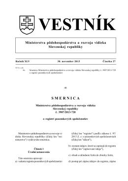 celý vestník (pdf, 1.5 Mb, 2831x) - Ministerstvo pôdohospodárstva a