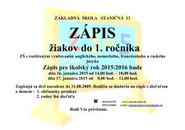 ZÁPIS do 1.ročníka - Základná Škola, Staničná 13, Košice