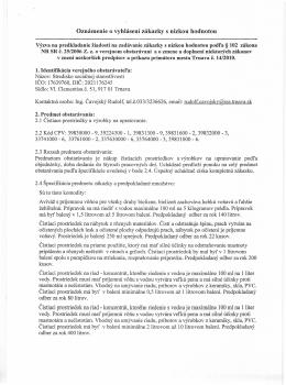 Oznámenie o VO Čistiace prostriedky a výrobky na upratovanie