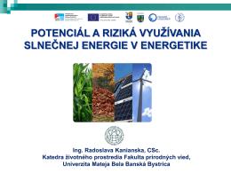 Potenciál a riziká využívania slnečnej energie v energetike
