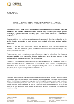 TLAČOVÁ SPRÁVA CHEMKO a.s. SLOVAKIA