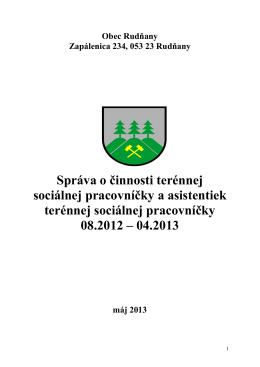 Správa o činnosti terénnej sociálnej pracovníčky a