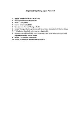 Organizačné pokyny zájazd Parndorf