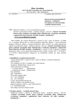 Výzva na predkladanie ponúk, Jarabina - Kanalizácia