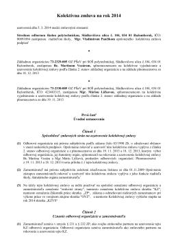Kolektívna zmluva na rok 2014