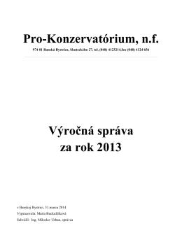 Výročná správa - Konzervatórium JL Bellu
