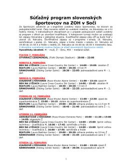 Program Slovákov na ZOH