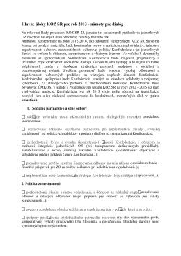 Hlavne úlohy KOZ SR pre rok 2013