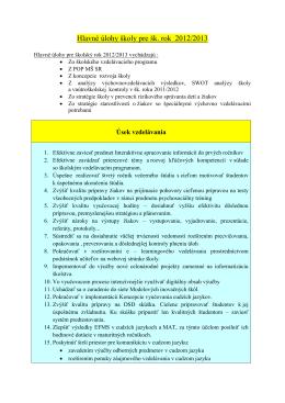 Hlavné úlohy školy pre šk
