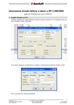 SunSoft / Hotovostná úhrada faktúry a zákon o RP - AZ