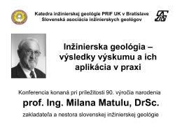 prof. Ing. Milana Matulu, DrSc.