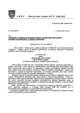 Verejná vyhláška k územnému plánu obce Lazisko