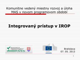 Pracovné stretnutie k príprave IROP 2014 – 2020