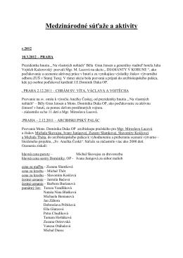 Slovenské súťaže a medzinárodné súťaže 21.2.2013