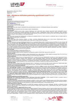 VOP - Všeobecné obchodné podmienky spoločnosti Level IT s.r.o.