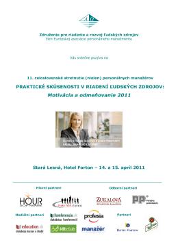 Motivácia a odmeňovanie 2011 - Združenie pre riadenie a rozvoj
