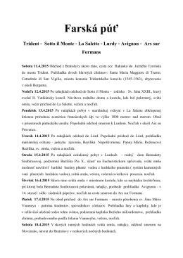 Farská púť Trident - Sotto il Monte - La Salette