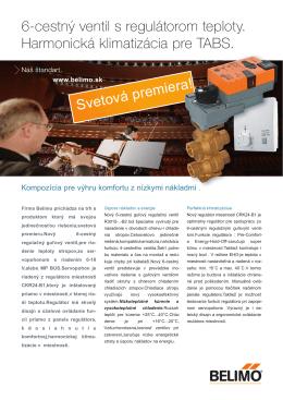 6-cestný ventil s regulátorom teploty. Harmonická klimatizácia pre