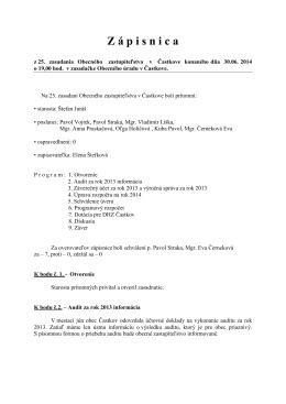 Zápisnica z 25. zasadnutia OZ