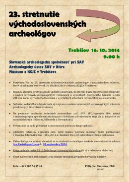 23. stretnutie východoslovenských archeológov