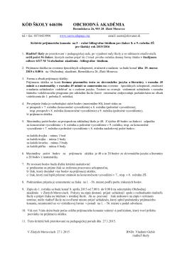 Kritériá PS na 5 – ročné bilingválne štúdium pre žiakov ZŠ