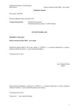 Výzva (PDF) - Mestská krytá plaváreň Košice