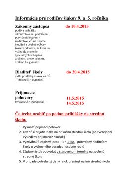 Informácie pre rodičov žiakov 9. a 5. ročníka Zákonný