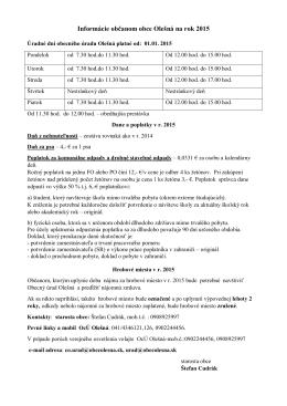 Informácie občanom obce Olešná na rok 2015