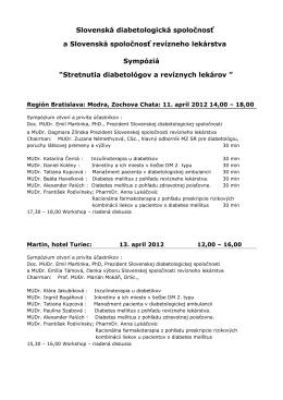 Stretnutia diabetológov - Slovenská diabetologická spoločnosť