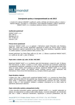 Správa o transparentnosti 2013 - PDF