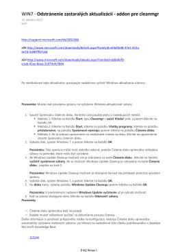 WIN7 - Odstránenie zastaralých aktualizácií - addon