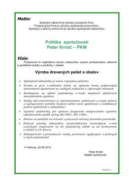 politika spolocnosti - Predaj reziva | PKM Hriňová