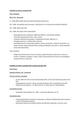 Kandidát na funkciu - Slovenský hovawart klub