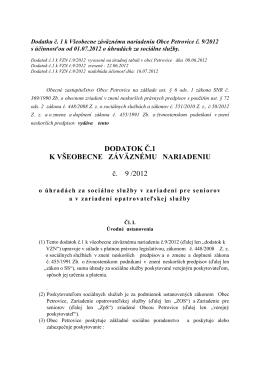 Dodatok k VZN č. 9/2012