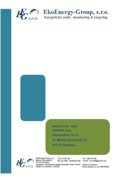 Ekosystémy, s.r.o., Ul. Matice slovenskej 10, 971 - EkoEnergy