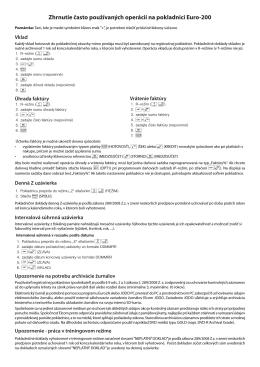 Zhrnutie často používaných operácií na pokladnici Euro-200