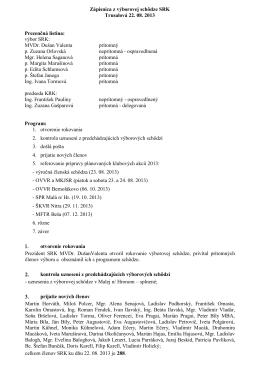 zápis z výborovej schôdze - 22.8.2013