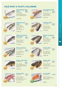 celé ryby a filety, mrazené