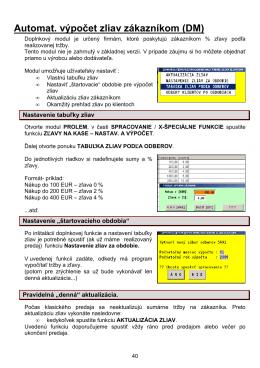 Automat. výpočet zliav zákazníkom (DM)