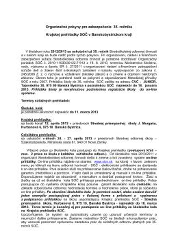 Organizačné pokyny pre zabezpečenie 35. ročníka Krajskej