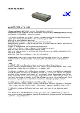 Návod na použitie Menič TS-1500 a TN-1500