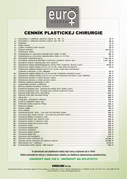 CENNÍK PLASTICKEJ CHIRURGIE