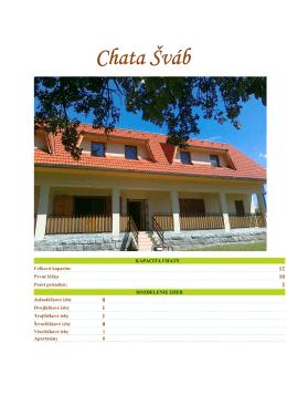 Chata Šváb - možnosti a vybavenie chaty