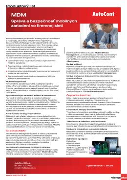 Správa a bezpečnosť mobilných zariadení vo firemnej sieti