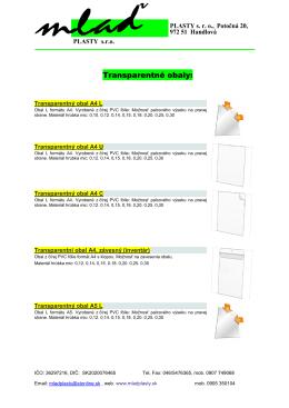 Transparentné obaly: