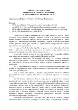 Zápisnica z pracovného stretnutia konaného dňa 10. augusta 2012