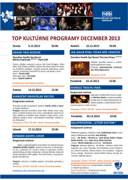 TOP KUlTúRNE PROgRAmy dECEmBER 2013